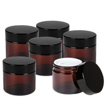 6pcs 50g Amber Glass Empty Cosmetic Jar Cream Face Makeup Balm Lotion Co... - $31.78