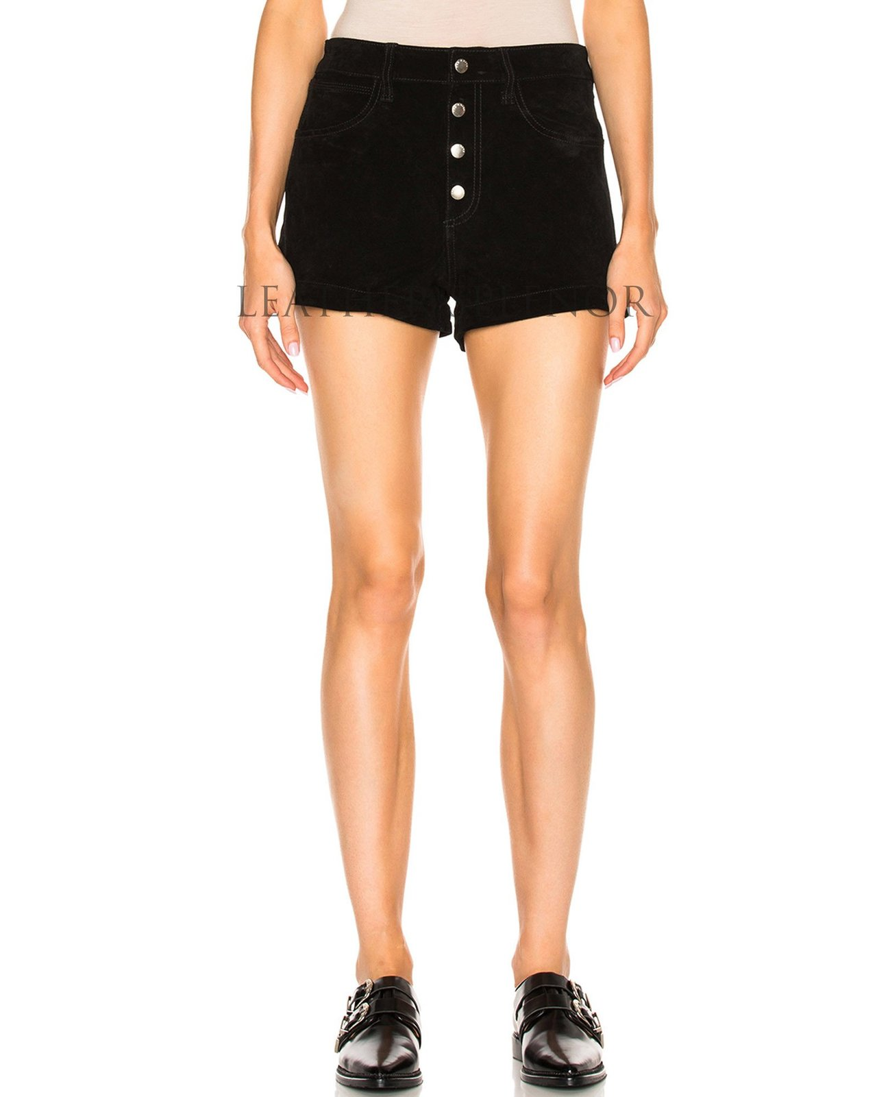 Button Up Women Leather Shorts