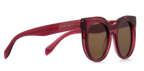 Alexander Mcqueen AM0001S 004 52MM Runde Sonnenbrille Rot Rahmen Braune Gläser