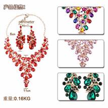 Brilliant Rhinestone Necklace Earrings Jewelry Set Fashion Wedding Jewel... - $37.00