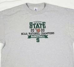 Michigan State Basketball Mens Tshirt 2XL XXL 2000 NCAA Champions Spartans Gray - $33.59