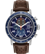 Citizen Brycen Men's Eco Drive Blue Dial Brown Leather Strap Watch CA064... - $193.03