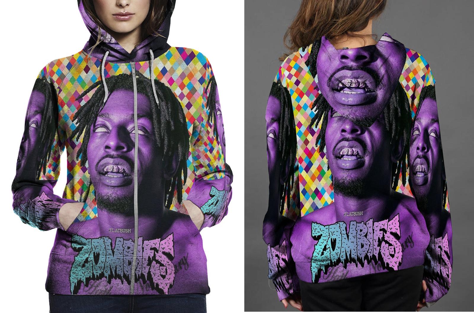 Flatbush zombies hoodie zipper fullprint for women