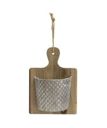 Farmhouse Kitchen Distressed Wood Cutting Board Metal Pocket floral  - $39.99
