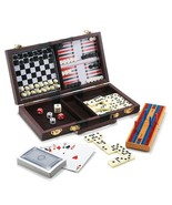 6-In-1 Travel Game Set Chess, Checkers, Backgammon, Cribbage, Dominoes &... - $12.12