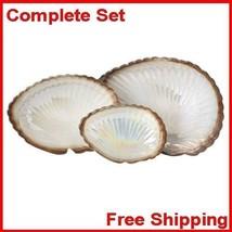 Cream Clam Shell Display Dishes Set of Three Gold Ceramic Amber White New - $22.56