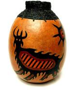 Vintage Folk Art Gourd Hand Carved Indian Pattern Rope Top Signed 1988 - $77.22
