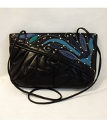 Dimitri Black Leather Shoulder Bag Clutch Purse Vintage Snakeskin Stud Trim - $40.00