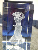 """3-D LASER ETCHED 3"""" x 2"""" CRYSTAL GLASS CUBE FEMALE GOLFER WITH HAT image 2"""