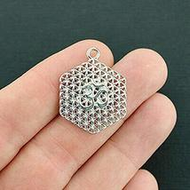 4 Flower of Life OM Charms Silver Tone Delicate Details for Pendant Brac... - $7.19