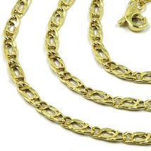 9K GOLD CHAIN TYGER EYE FLAT LINKS 3mm THICKNESS, 60cm, 24 INCHES, NECKLACE image 3