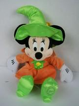 Disney Store Minnie Mouse Witch Plush Halloween Orange Green Dress Hat 1... - $19.79