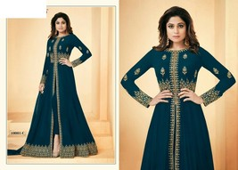 Cerulean Blue Hit Abaya Split Cut Ankle Long Pant Suit Indian Ethnic Dre... - $134.00