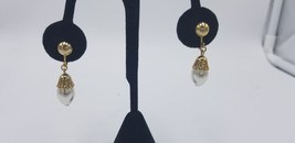 Vintage Park Lane Gold Tone Frosted Faux Peal Crown Dangle Clip On Earri... - $15.44