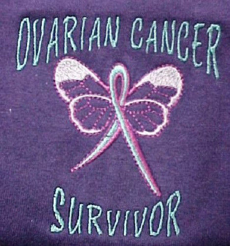 Primary image for Ovarian Cancer Awareness Sweatshirt Large Teal Butterfly Purple Crew Unisex New