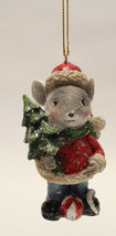 """3.35"""" HAND PAINTED RESIN HOLIDAY MOUSE HOLDING TREE CHRISTMAS ORNAMENT S... - $8.88"""