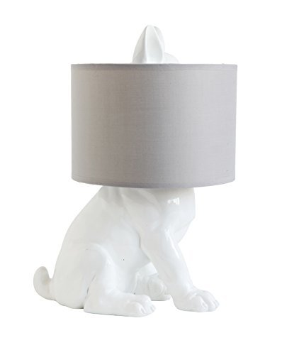 Creative Co Op White Resin Dog Table Lamp With Linen Shade