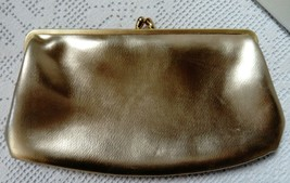 Vintage Gold Clutch Bag With Gold Colour Clasp Fastener, Vgc - $19.72