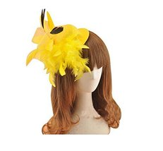 Beautiful Charming Feather Hairpin for Parties/Stage/Wedding,Hat,Yellow