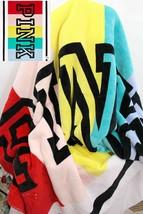 "Victorias Secret LOVE PINK~Soft Sherpa Blanket~60""x 72"", Rainbow colorblock - £75.58 GBP"