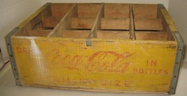 Vtg Yellow/Red Distressed Coca-Cola 12-Bottle Wooden Storage Holder Crat... - $48.51