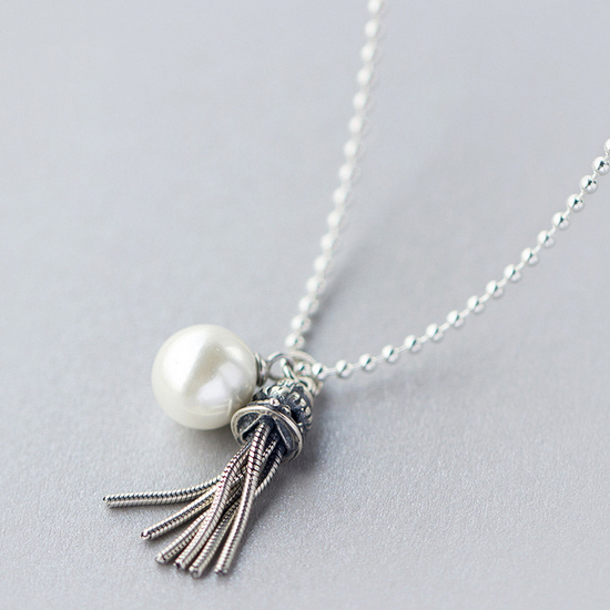 Unique tassels pearl 925 sterling silver pendant necklace