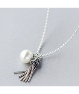 Unique tassels pearl 925 sterling silver pendant necklace - €45,86 EUR