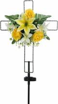 Floral Cross Solar LED Light Metal Stake Silk Blooms Garden Outdoor Deco... - $24.72