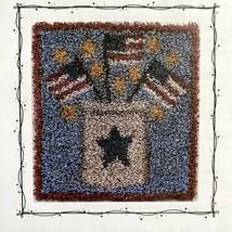 Waxing Moon Designs PATRIOTIC CROCK Punch Needle Pattern & Fabric Flag 4... - $6.93