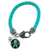 Custom PTSD Awareness Teal Ribbon Leather Bracelet Jewelry Initial Family Charms - $13.94