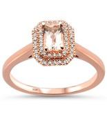 10K Rose Gold .58 CTW Emerald Cut Morganite & Diamond Engagement Ring - $410.99