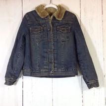 GAP Faux Fur Lined Blue Jean Jacket Size Small - $38.02