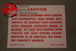 57-67 Chevy Positraction Decal Card Limited Slip Differential Warning All Models - $8.68