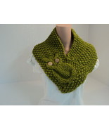 Handcrafted Cowl Wrap Owl Apple Green Textured ... - $45.52