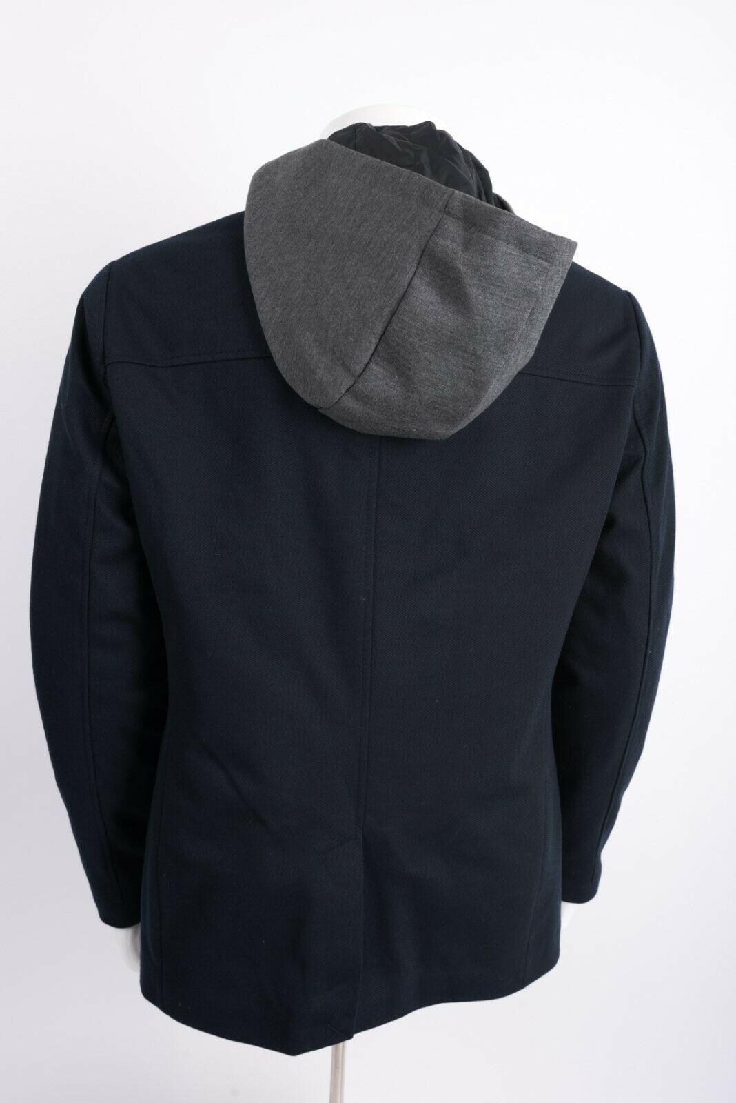 Zara Man Mens Jacket Coat Blazer Removeable Interior Navy Blue Gray Hooded NWT image 5