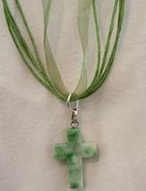 Necklace  Ribbon Choker with Healing Howlite Cross  Natural stone Boho Chic - $14.37