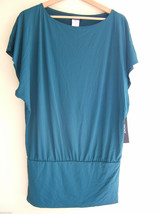 "NWT DKNY Teal ""New Bottle"" Green Short Dolman Sleeve Sexy Beach Swim Cover Up M - $47.40"