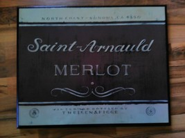 Home Decorative Wall Art Hanging Saint-Arnauld Merlot Wine Sonoma Califo... - $49.99