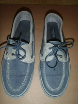 Sperry Top-Sider Denim Blue Gray Canvas Leather 2 Eyelet Boat Shoe Mens ... - $37.39