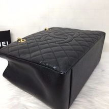 NEW AUTH CHANEL QUILTED CAVIAR GST GRAND SHOPPING TOTE BAG GOLD HW image 6