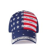 USA Flag Hat - Blue Rhinestone Adjustable Womens Cap - Red/White/Blue - $29.65