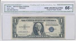 1935 G $1 ONE DOLLAR SILVER CERTIFICATE-CGA HOLDER GEM UNC NOTE- FREE SH... - $69.95