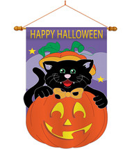 Black Cat - Applique Decorative Wood Dowel with String House Flag Set HS112042-P - $46.97