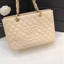 AUTHENTIC CHANEL QUILTED CAVIAR GST GRAND SHOPPING TOTE BAG BEIGE GHW image 3