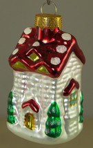 """Hand Painted Glass Little House Christmas Holiday Ornament 2.5"""" - $7.65"""