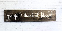 Dark Walnut Cursive Grateful Thankful Blessed Wooden Sign Rustic Handmad... - $57.94