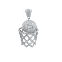 925 Sterling Silver Micro Pave Cubic Zirconia Basket Ball and Hoop Charm... - $124.45