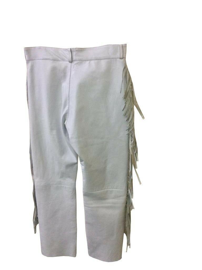 Men's New Native American Buckskin White Leather Beads Hippie Shirt & Pant WS72 image 5