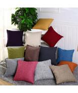 55x55cm Home Pillowcase Thicken Linen Solid Color Cushion Cover Car Sofa... - $9.99