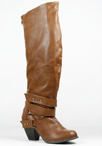 Cognac Brown Faux Leather Strappy Block Heel Knee High Fashion Riding Boot Qupid - $11.99